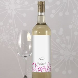 Contemporary Hearts Wine Bottle Label