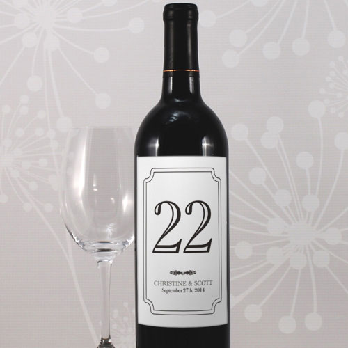 Classic Table Number Wine Label Numbers 85-96