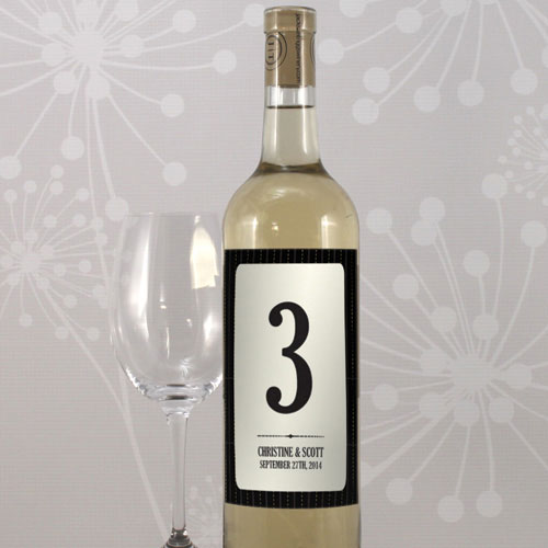 Black Pinstripe Table Number Wine Label Numbers 1-12