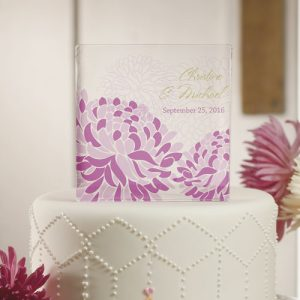 Zinnia Bloom Personalized Acrylic Block Cake Topper