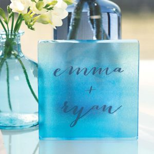 Aqueous Personalized Clear Acrylic Block Cake Topper