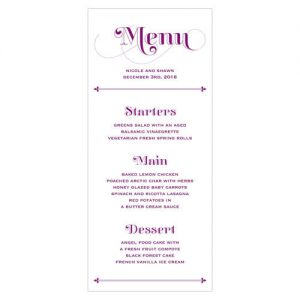 Fanciful Monogram Menu