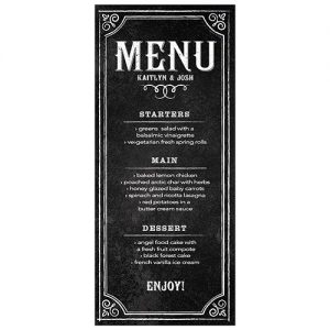 Wedding Menu Card with Chalkboard Print