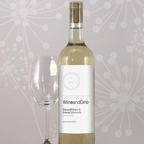 Modern Wedding Wine Bottle Label