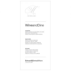 Personalised Monogram Wedding Menu Card