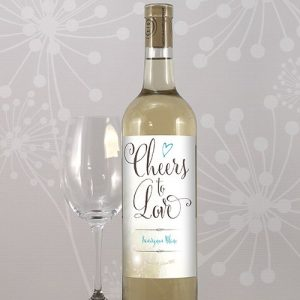 Feather Whimsy Wedding Wine Bottle Label