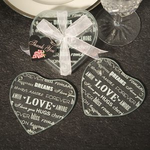 Heart Design Glass Coaster favours (Set Of 2)
