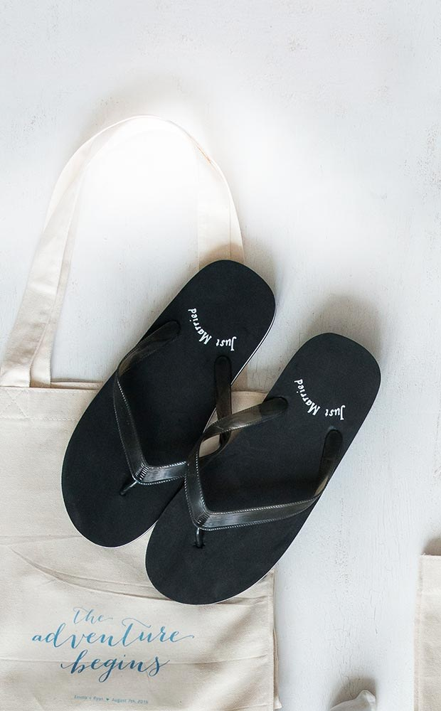 7cc568a4e Black Just Married Flip Flops For Him