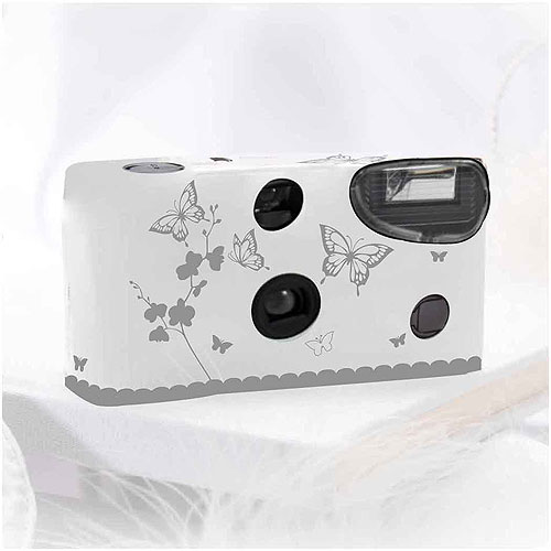 Butterfly Garden White And Silver Single Use Camera