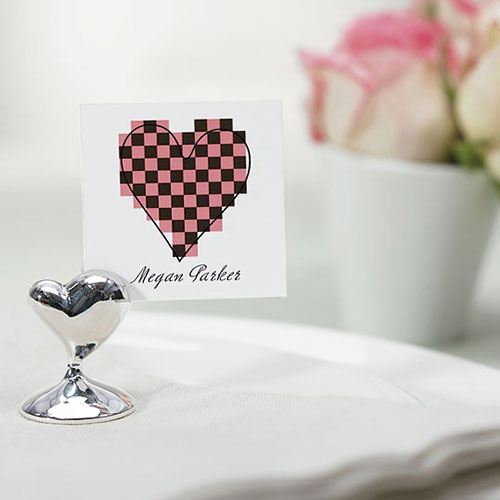 Swish Heart Silver Place Card Holders
