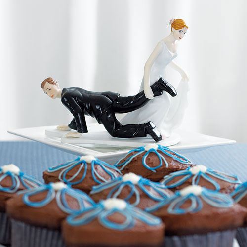 "Comical Couple with the Bride ""Having the Upper Hand"" Cake Topper"