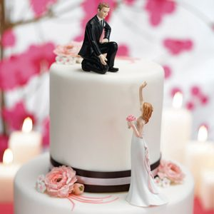"Reaching Bride and Helpful Groom Mix & Match Cake Toppers Groom ""Lending a Hand"""