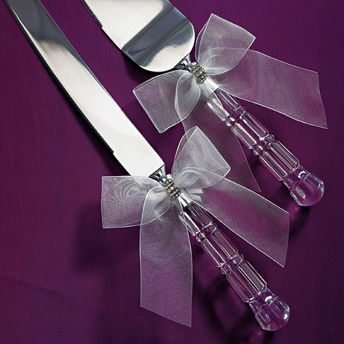 Bridal Tapestry Cake Serving Set White