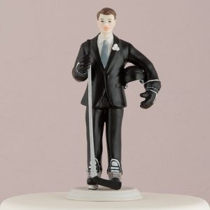 Hockey Player Groom Cake Topper