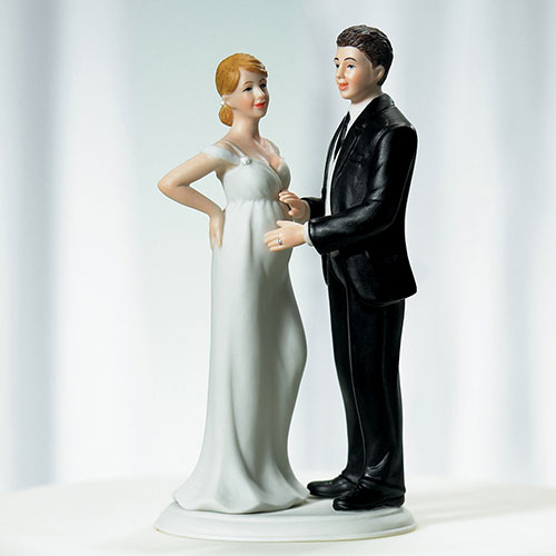 """Expecting"" Bridal Couple Figurine"
