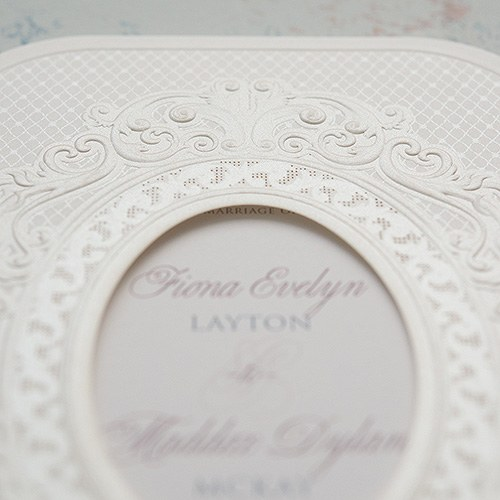 Pearls and Lace Personalised Laser Embossed Invitations