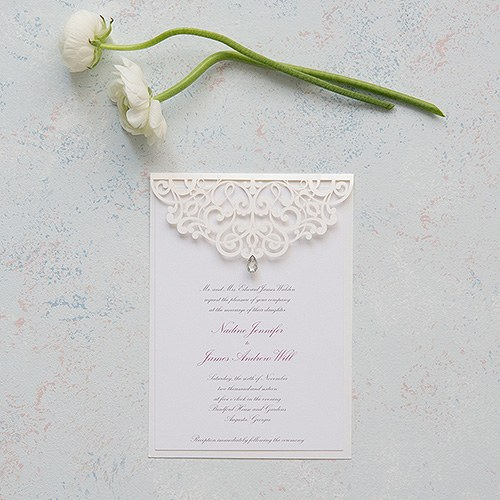 Pearl Romance Laser Embossed Invitations