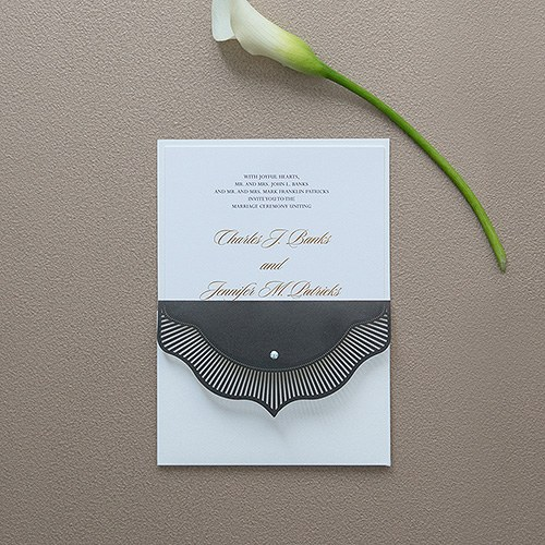 High Style in Black with Crystal Laser Embossed Invitations