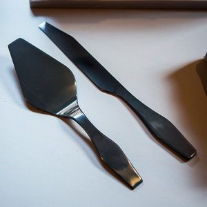 Black Titanium Plated Cake Server Set