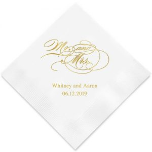 Mr and Mrs Script Printed Paper Napkins