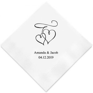 Double Hearts Printed Paper Napkins