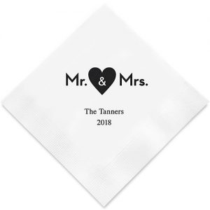 Mr & Mrs Heart Printed Paper Napkins