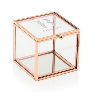 Rose Gold Glass Wedding Ring Box