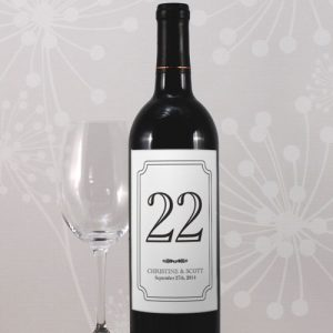 Classic Table Number Wine Label Numbers 25-36