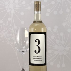 Black Pinstripe Table Number Wine Label Numbers 25-36