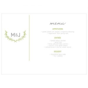 Woodland Personalised Wedding Menu