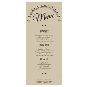 Personalised Wedding Menu Card