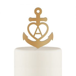 Anchor Monogram Cake Topper