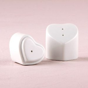 White Interlocking Hearts Salt and Pepper Shakers wedding favour