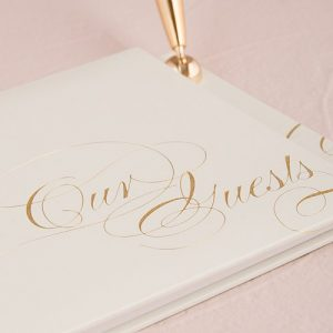 Gold Blank Wedding Guest Book with Pen