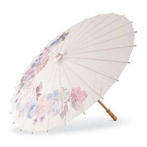 Floral Paper Parasol with Bamboo Boning
