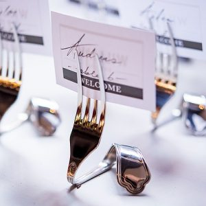 Silver Twisted Fork Place Card Holders