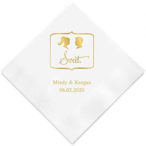 Sweet Silhouette Ponytail Bride, Spiked Hair Groom Paper Napkins
