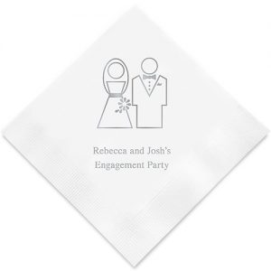 Stylized Bride and Groom Printed Paper Napkins