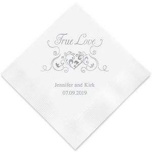 Heart Filigree Printed Paper Napkins