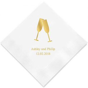 Champagne Flutes Printed Paper Napkins